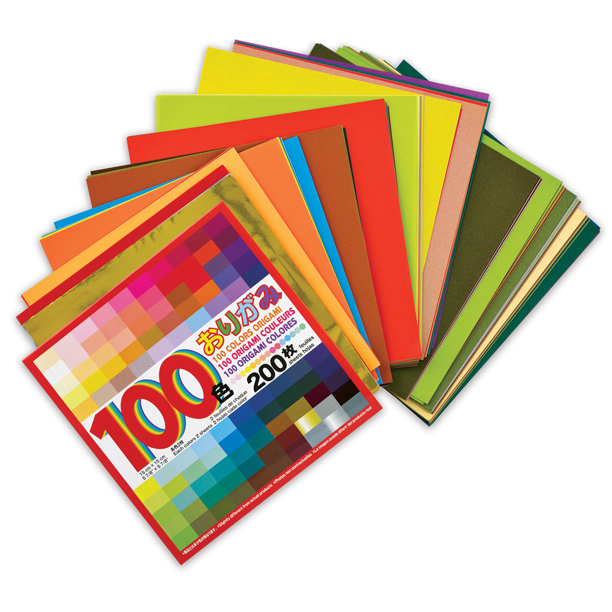 Aitoh 100 Color Origami Squares - Package of 200, 5-7/8 Squares