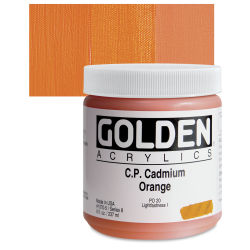 Golden Heavy Body Artist Acrylics - Cadmium Orange, 8 oz Jar