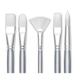 Liquitex Basics Brushes -  Line of five assorted brush styles.