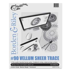 Borden & Riley #90 Vellum Sheer Trace - 9'' x 12'', 50 Sheets