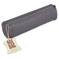 Clairefontaine Round Leather Pencil Case - Grey