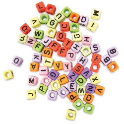 Craft Medley Alphabet Beads - Assorted Colors, Package of 68