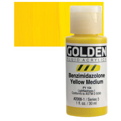 Golden Fluid Acrylics - Benzimidazolone Yellow Medium, 1 oz