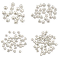 Craft Medley Pearl Glass Beads - White, Assorted Sizes