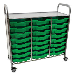 Gratnells Callero Plus Cart - Treble Cart, 24 Shallow F1 Trays, Grass Green