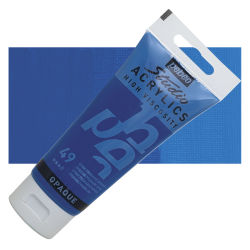 Pebeo High Viscosity Acrylics - Opaque Primary Cyan, 100 ml, Swatch with Tube