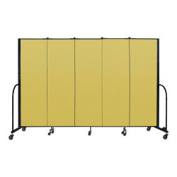 Screenflex Portable Room Dividers - 6 ft, Yellow, 5 Panel