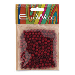 John Bead Euro Wood Beads - Red, Round, 6 mm, Pkg of 200