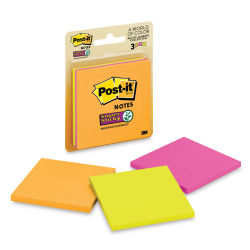 3M Post-it Super Sticky Notes - 3'' x 3'', Rio De Janeiro Collection, Blank, Pkg of 3