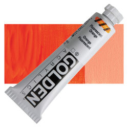 Golden Heavy Body Artist Acrylics - Fluorescent Orange, 2 oz Tube