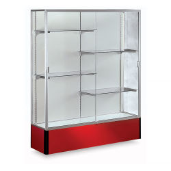 Waddell Spirit Series Display Case - 72'' x 48'' x 16'', Satin Finish/Red Base, Aluminum