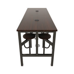 OFM Endure Tables with Attached Stools - 8 Seats, Walnut Top, Walnut Seats, 96''L