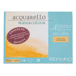 "Fabriano Artistico Enhanced Watercolor Block - Traditional White, Cold Press, 12"" x 16"""
