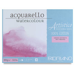 Fabriano Artistico Traditional White Watercolor Block - 9'' x 12'', Hot Press, 20 Sheets