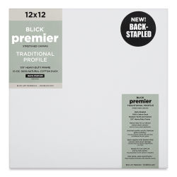 "Blick Premier Cotton Canvas - Back-Stapled, 7/8"" Traditional Profile, 12"" x 12"""