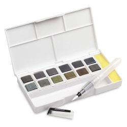 Derwent Graphitint Paint Pan - Set of 12, Assorted Colors (Shown with waterbrush and sponge.)
