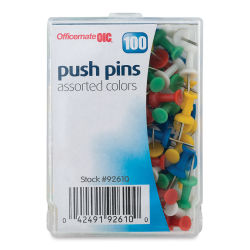 Officemate Push Pins - Assorted Colors, 100 pieces