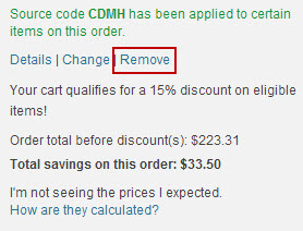 remove or change discount code