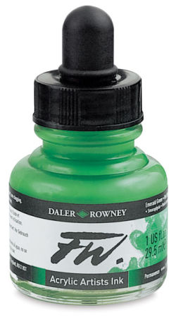 Daler-Rowney FW Acrylic Water-Resistant Artists Ink - 1 oz, Emerald Green