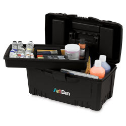 ArtBin Twin Top Storage Box - Black, With Lift-out Tray (Open with tray removed; Supplies not included)