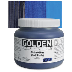 Golden Heavy Body Artist Acrylics - Phthalo Blue (Red Shade), 32 oz Jar