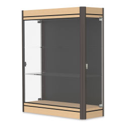 Waddell Contempo Series Display Case - Black, Light Maple Base with Dark Bronze Frame, Wall