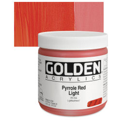 Golden Heavy Body Artist Acrylics - Pyrrole Red Light, 16 oz Jar