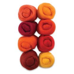 Wistyria Editions 100% Wool Roving - Fire, Pkg of 8
