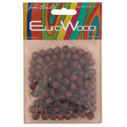 John Bead Euro Wood Beads - Mahogany, Round, 8 mm, Pkg of 100