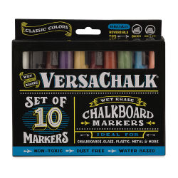 VersaChalk Liquid Chalk Markers - Set of 10, Classic Colors, Bold