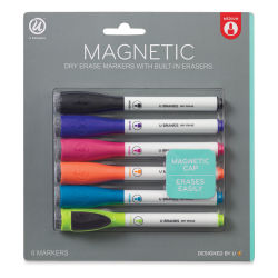 U Brands Magnetic Dry Erase Markers - Medium Tip Markers, Set of 6