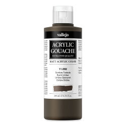 Vallejo Acrylic Gouache - Burnt Umber, 200 ml