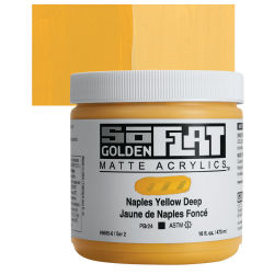 Golden SoFlat Matte Acrylic Paint - Naples Yellow Deep, 473 ml, Jar with Swatch
