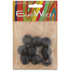 John Bead Euro Wood Beads - Black, Round Large Hole, 20 mm x 16 mm, Pkg of 9