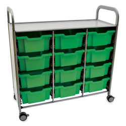 Gratnells Callero Plus Cart - Treble Cart, 12 Deep F2 Trays, Grass Green