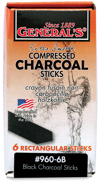 General Compressed Charcoal Stick 6B 6//Box