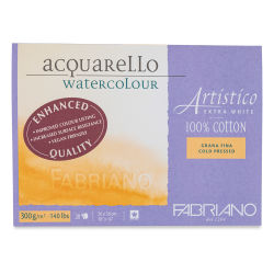 "Fabriano Artistico Enhanced Watercolor Block - Extra White, Cold Press, 10"" x 14"""