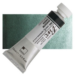 PWC Extra Fine Professional Watercolor - Shadow Green, 15 ml, Swatch with Tube