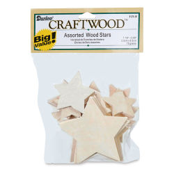 Darice 2-D Wood Cutouts - Stars, Assorted Sizes, 75 g
