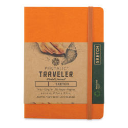 Pentalic Recycled Traveler's Sketchbook - 5-7/8'' x 4-1/8'', Orange