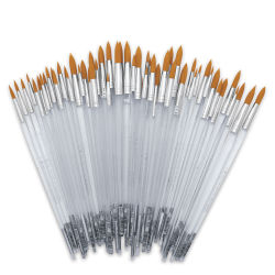 Royal Langnickel Clear Choice Brush Set - Golden Taklon, Round, Set of 60, Long Handle