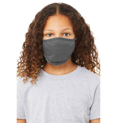 Bella Canvas Kids Reusable Face Mask - Deep Heather, Package of 5, Shown in use.