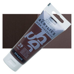 Pebeo High Viscosity Acrylics - Burnt Umber, 100 ml, Swatch with Tube