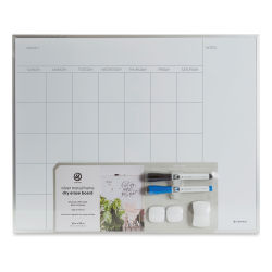 U Brands Silver Frame Weekly Calendar White Boards - Month