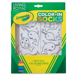 Living Royal Crayola Color-In Socks - Narwhal Fun