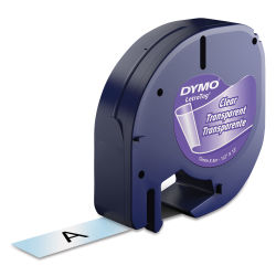Dymo LetraTag Label Tape - Pkg of 1, Clear, Plastic