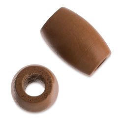 John Bead Euro Wood Beads - Coffee, Oval, Large Hole, 22 mm x 33 mm, Pkg of 6
