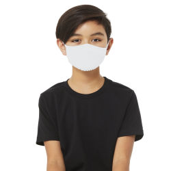 Bella Canvas Kids Reusable Face Mask - Solid White, Shown in use.