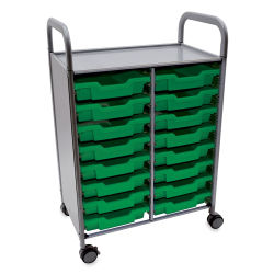 Gratnells Callero Storage Cart with 16 Shallow Trays - Grass Green