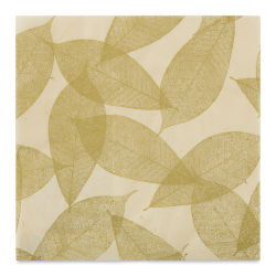 "Black Ink Screenprinted Leaves Mulberry Decorative Paper - Cream, 12"" x 12"""
